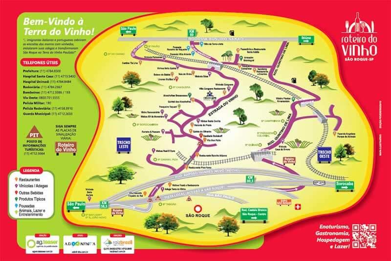 Mapa da Rota do Vinho - Cidade de São Roque