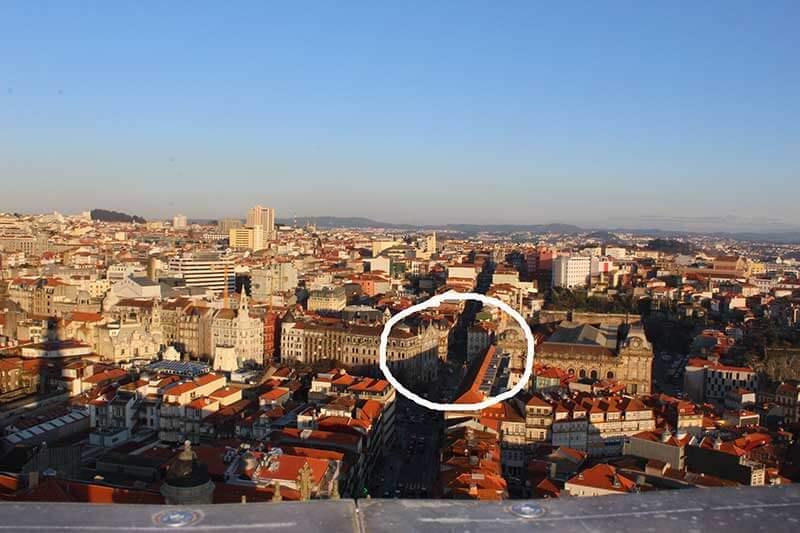 Região central do Porto - Marcação da Localização do Hotel Peninsular